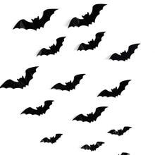 купить 16PCS Halloween 3D Bats Decorations PVC Window Stickers Wall Art Decals DIY Halloween Party Supplies по цене 48.85 рублей