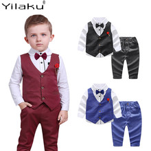 Yilaku Spring Boys Clothes Sets Shirt + Vest + Pants + Tie Suits Kids Clothing Blouse Can With Bow Ties Boy Gentleman Set CF614(China)