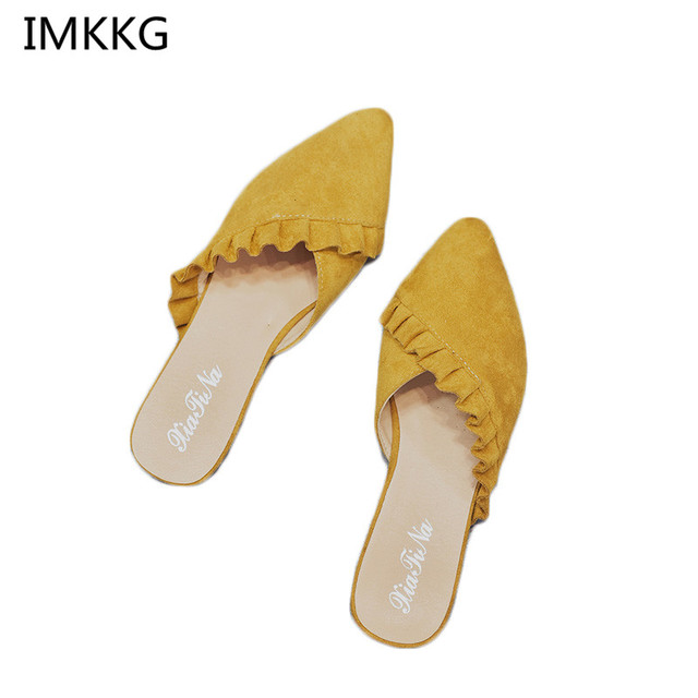 New 2018 Pointed Toe Women Mules Suede Leather Flat Shoes Women Pleated Women Summer Shoes flats Mujer Q254