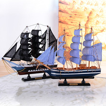 Wholesale Promotion Wooden Ship Sailboat Model Craft Carving Nautical Sailing Ship Model Mediterranean Style Boats Home