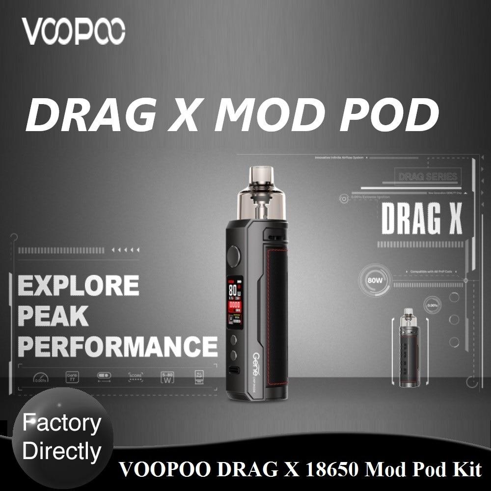 Original VOOPOO DRAG X Mod Pod Kit 4.5ml Pod GENE.TT Chip Powered By Single 18650 Battery No Battery E-cig Vape Kit Vs Vinci X