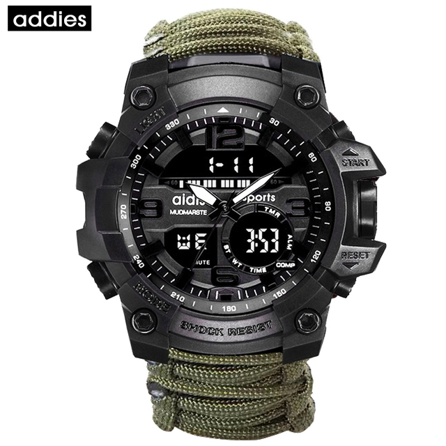 ADDIES Men Sports Watch Compass Multifunctional Waterproof Watch Outdoor Military LED Digital Army Watches relogio masculino