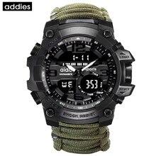Addies男性スポーツウォッチコンパス多機能防水時計屋外ミリタリーledデジタル腕時計レロジオmasculino