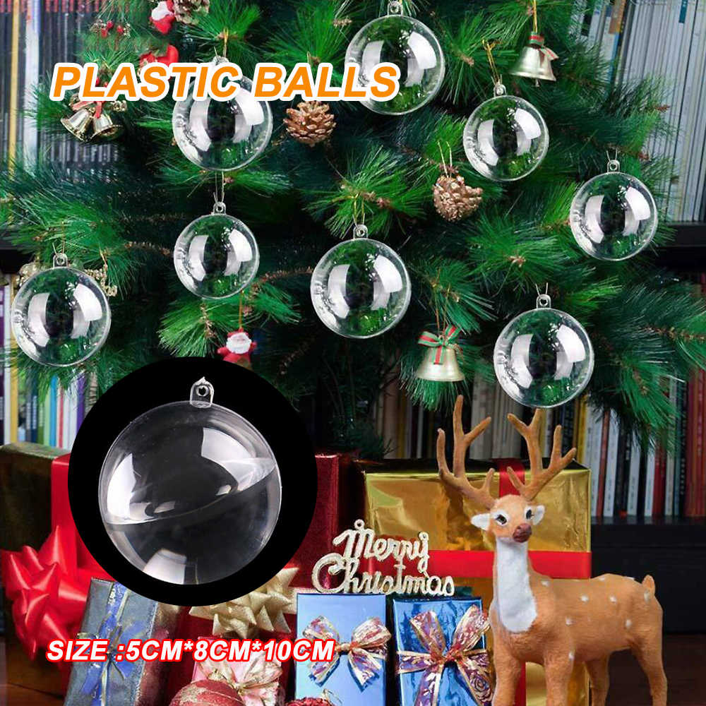 Clear Plastic Bal Kerstboom Ornamenten Opknoping Hangers Craft Nieuwjaar Xmas Decor Home Party Decoratie Kerstballen Invulbare 3