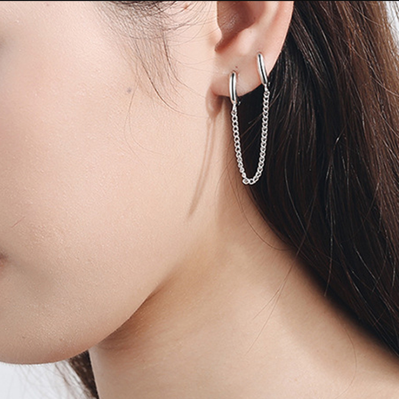 1pc Korean Stainless Steel Earrings Fashion Tassel Retro Long Chain Metal Earrings Factory Wholesale
