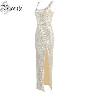 Image 3 - Vc 2020 모든 무료 배송 새로운 트렌디 스팽글 장식 섹시한 분할 민소매 연예인 파티 롱 드레스