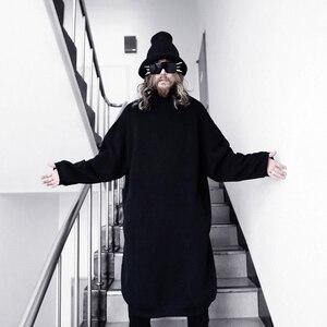 Мужская длинная Повседневная Толстовка в стиле панк-рок, Свободный пуловер с длинным рукавом в стиле хип-хоп, уличная одежда