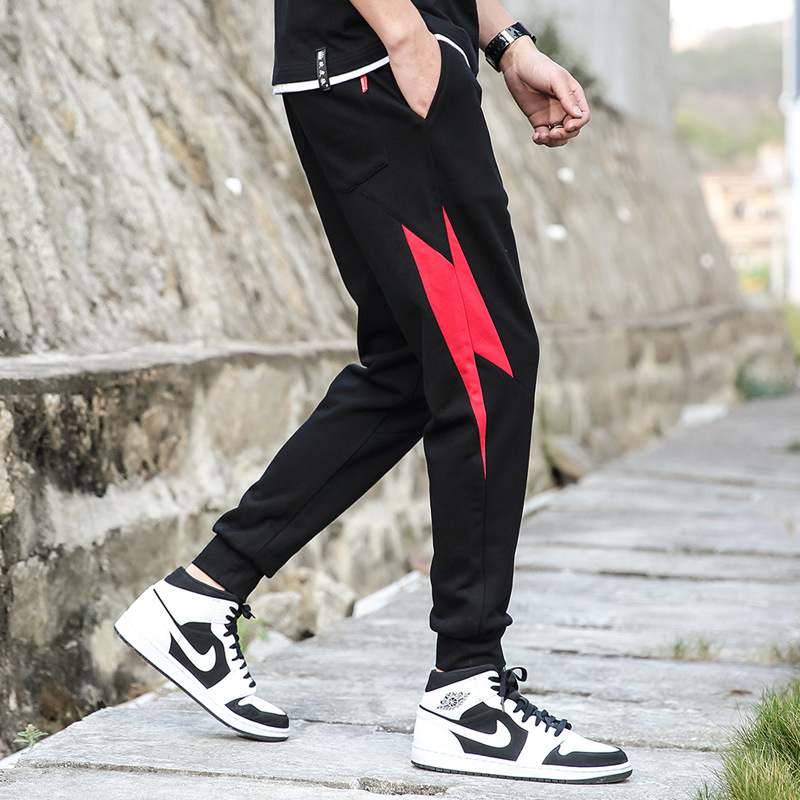 2019 Athletic Pants Men's Summer Thin Section MEN'S Casual Pants Knit Skinny Quick-Dry Korean-style Teenager Popular Sweatpants
