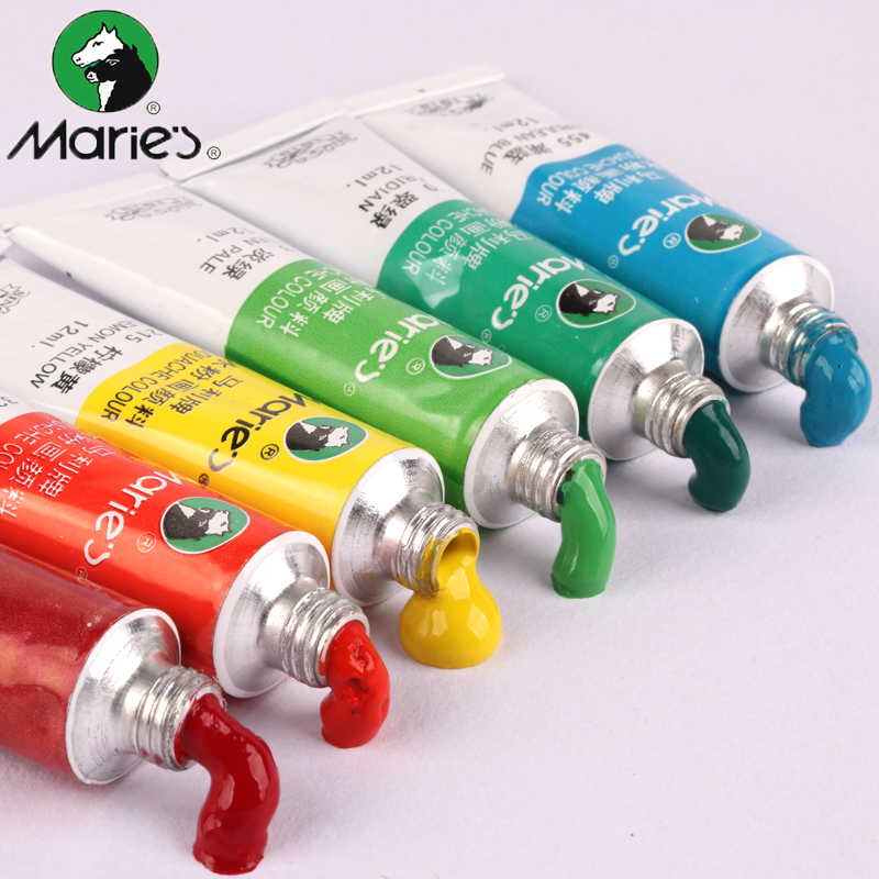 Genuine Marie's 12 Colors 18 Colors 24 Colors 5ml 12ml Gouache Paint Kits Art Painting Gouache Acrylic Oil Paint For Painting