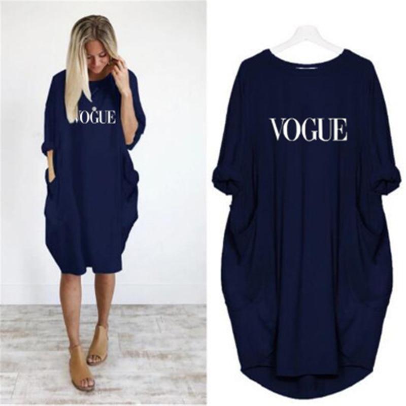 2019 Dress Girls Letters Print VOGUE Pocket Dress Vintage Summer Fall Maxi Clothes Woman Dresses Party Women Dresses Plus Size