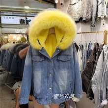 купить Winter Fur Coat Womens Parka Denim Jacket Hooded High Quality Faux Fur Collar Warm Cotton Coats Short Jacket Femme Windbreaker по цене 3438.28 рублей