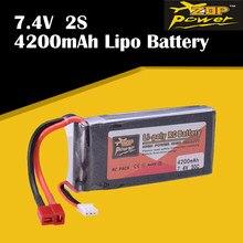 ZOP – batterie Rechargeable 30C Lipo 2S, 7.4V, 4200mAh, prise T, pour Drone de course RC, modèle de bateau, hélicoptère