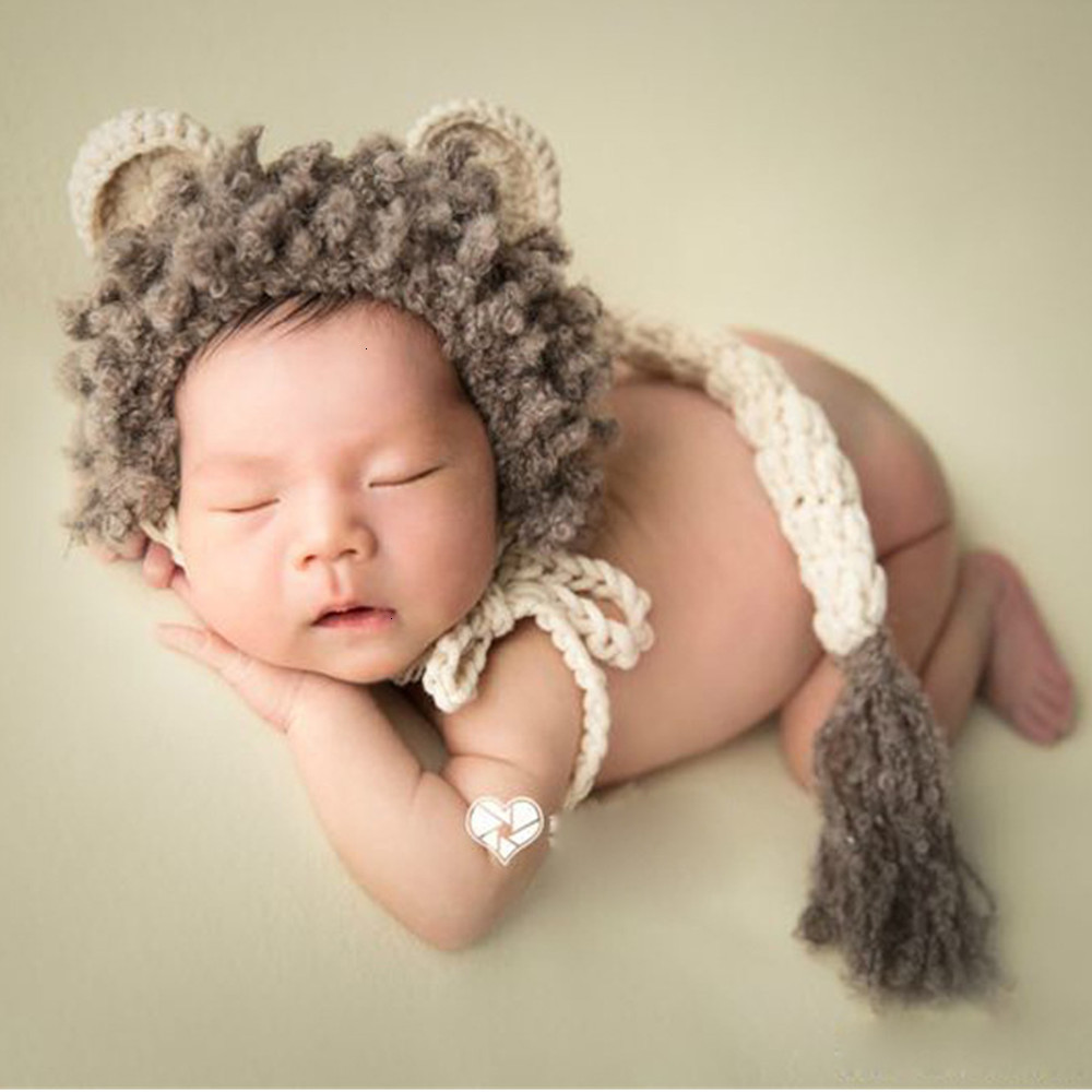 Newborn Photography Props Accessories Baby Photography Clothing Lion Costume Crochet  Hat+Tail Set Studio Baby Photo Props