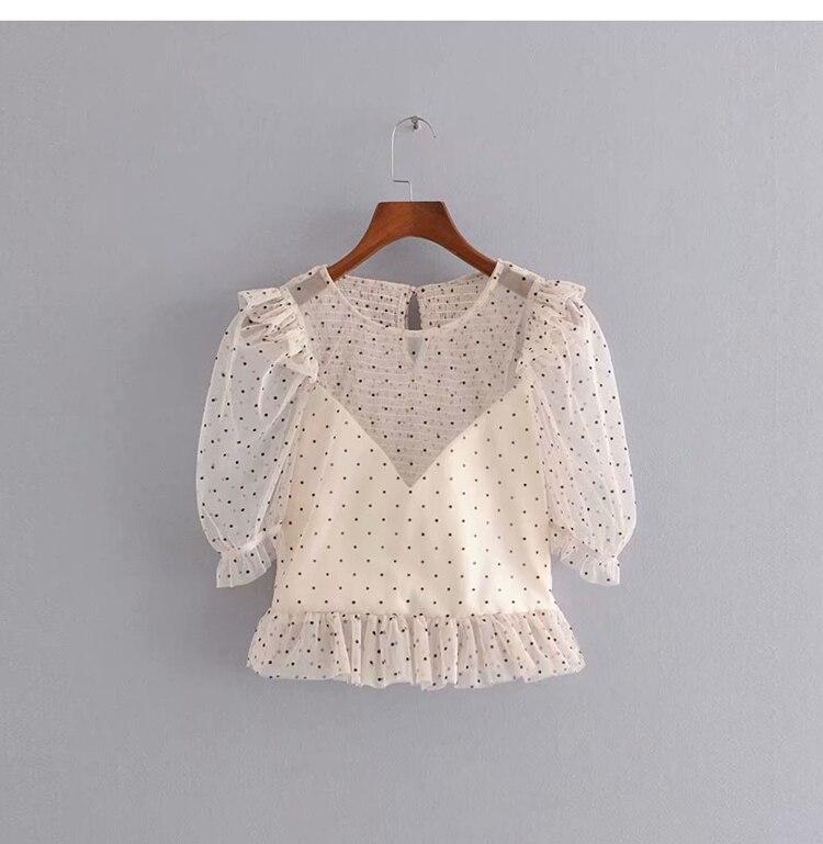 2020 Sweet Temperament Laminated Wave Shirt Modis Vadiming Sheiner Zaraing Women Blouse Kimono