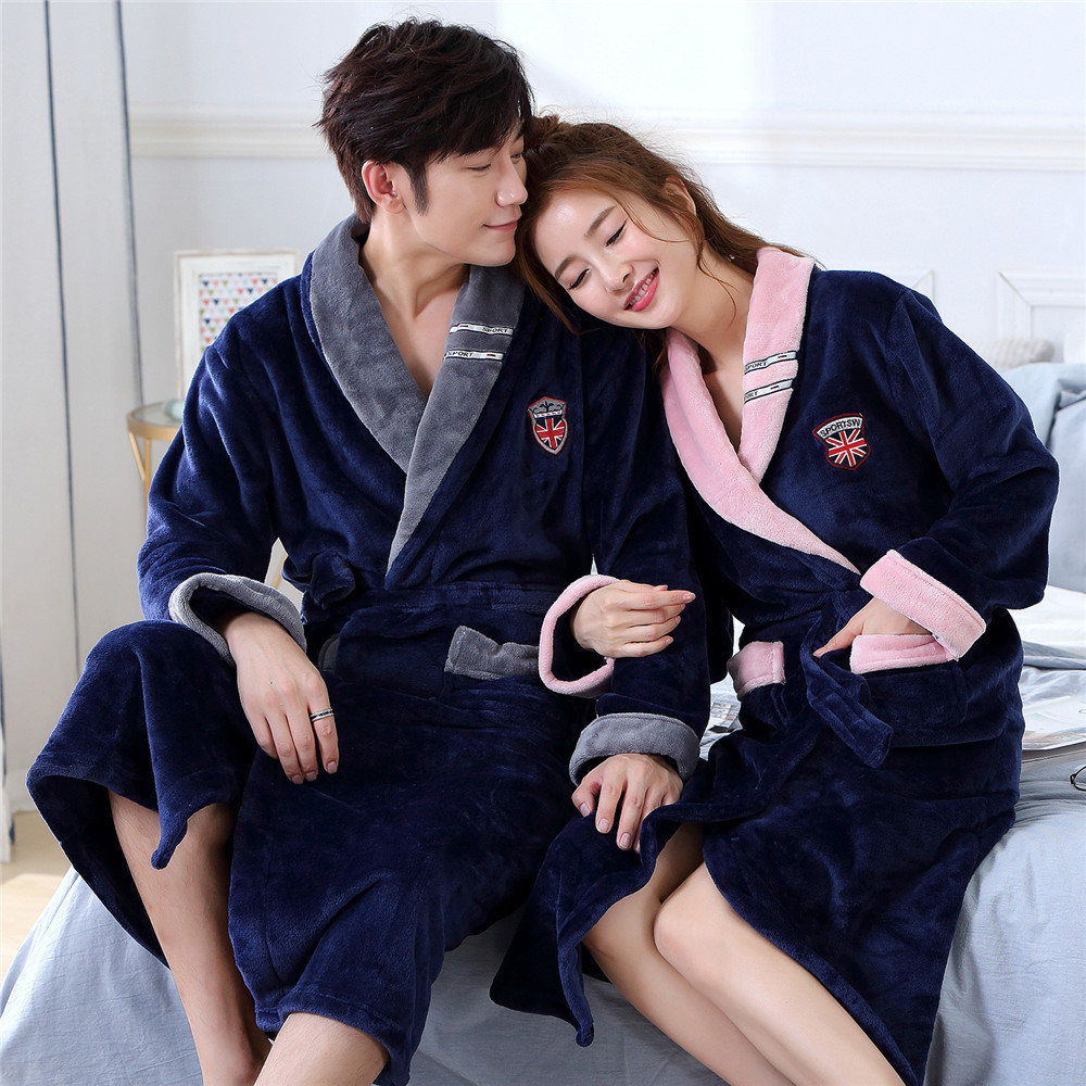 Novelty V-neck Winter Robe Women&men Bathorobe With Belt Full Sleeve Warm Negligee Thicken Ultra Flannel Home Dressing Gown