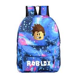 Синий звездный Детский рюкзак roblox школьные ранцы для мальчиков с аниме рюкзак для подростков детский школьный рюкзак mochila