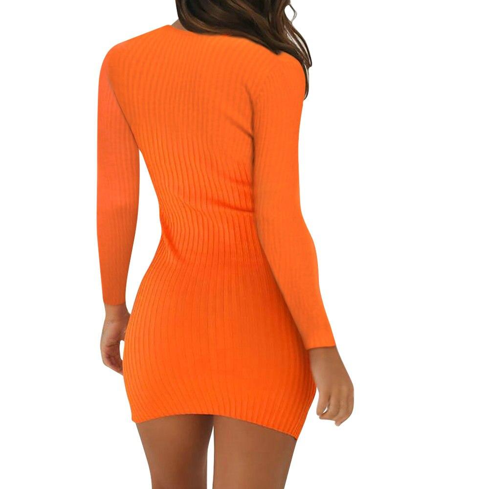 Hf2c43f9fd0fa40bfbaf86e58bcbe8edfA Women Pencil Bodycon Dress Spring Autumn Women Long Sleeve Solid Dresses Ladies Skinny Slim Knitted Stretch Short Dress Vestidos