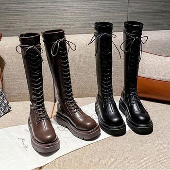 Blwbyl Plus rozmiar 35-40 Stretch buty damskie zasznurować buty na platformie wysokiej jakości mikrofibra skóra średnio wysokie buty z cholewami dla kobiet tanie i dobre opinie whnb inny podstawowe CN (pochodzenie) Zima Do kolan Płytkie Stałe Adult okrągły nosek RUBBER Niska (1 cm-3 cm) 3-5 cm