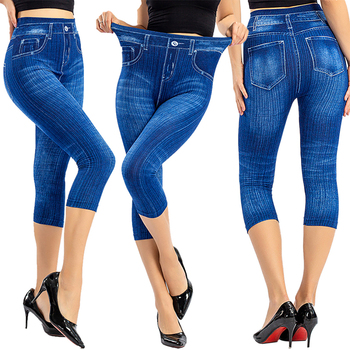 Women Denim Print Leggings Fashion Slim Leggings Faux Jeans Leggings Woman Stretch Printed Short Leggins Pants Summer Breeches