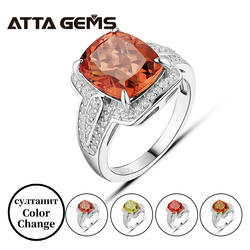 Zultanite Султанит Real Sterling Silver Ring Cushion Cut Created Diaspore Color Change Women Classic S925 Jewelry