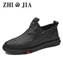 2020 novo outono homens sapatos casuais moda sapatos de couro plano zip homens de fundo macio sapatos de negócios ao ar livre sem deslizamento