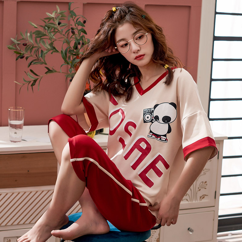 Pajamas Female Summer Pure Cotton Thin Two-Piece Set Short Sleeve Capri Pants Loose Casual-Outer Wear Large Size Panda Home Wear