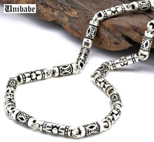 Pure Silver 4mm Thick Cylinder Chain S925 Sterling Silver Classic Vintage Geometric Patterns Male Men's Necklace Jewelry