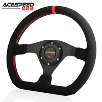 New 13inch 330mm Car Steering Wheel Racing Drift Genuine/Suede Leather Red Stitching Steering Wheel Flat Simulation Racing Game