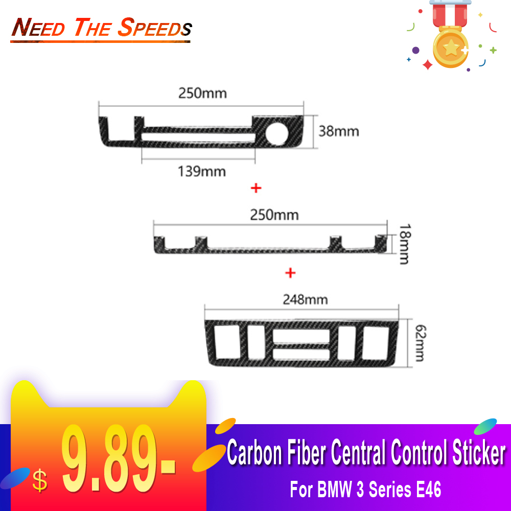 Auto Accessory Interior Instrument Dashboard Central Control Trim Frame Sticker Decorative Cover For BMW 3 Series E46 Car Parts