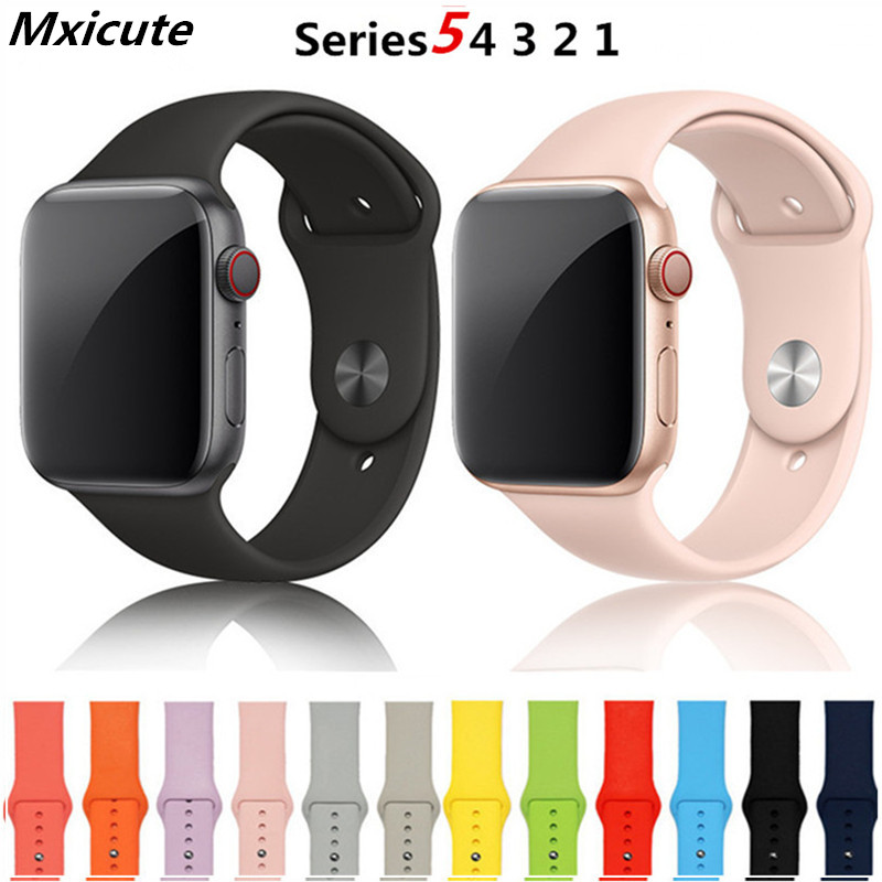 Strap For Apple Watch Band 38mm 42mm Soft Silicone Replacement Band 5 4 3 2 1 44mm 40mm Iwatch Bracelet Iphone Watch Belt Link