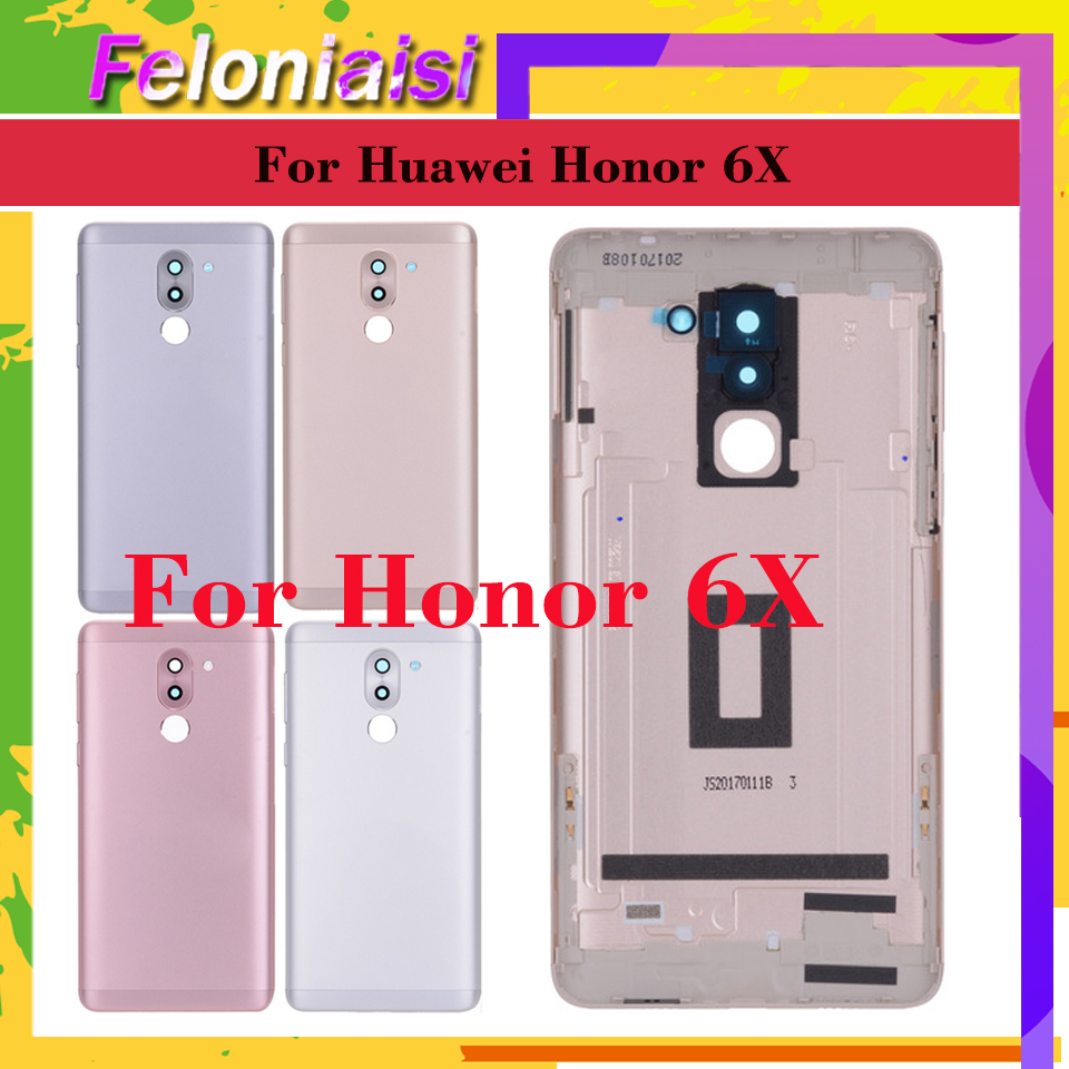 Original For <font><b>Huawei</b></font> Honor 6X <font><b>GR5</b></font> <font><b>2017</b></font> BLL-L23 Battery Cover Back Housing Rear Door Case full Battery Cover Panel Replacement image