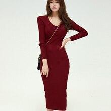 Korean Autumn Sweater Dress Women Knitted Dresses Elegant Woman Long Sleeve Bodycon V Neck Sweaters OL