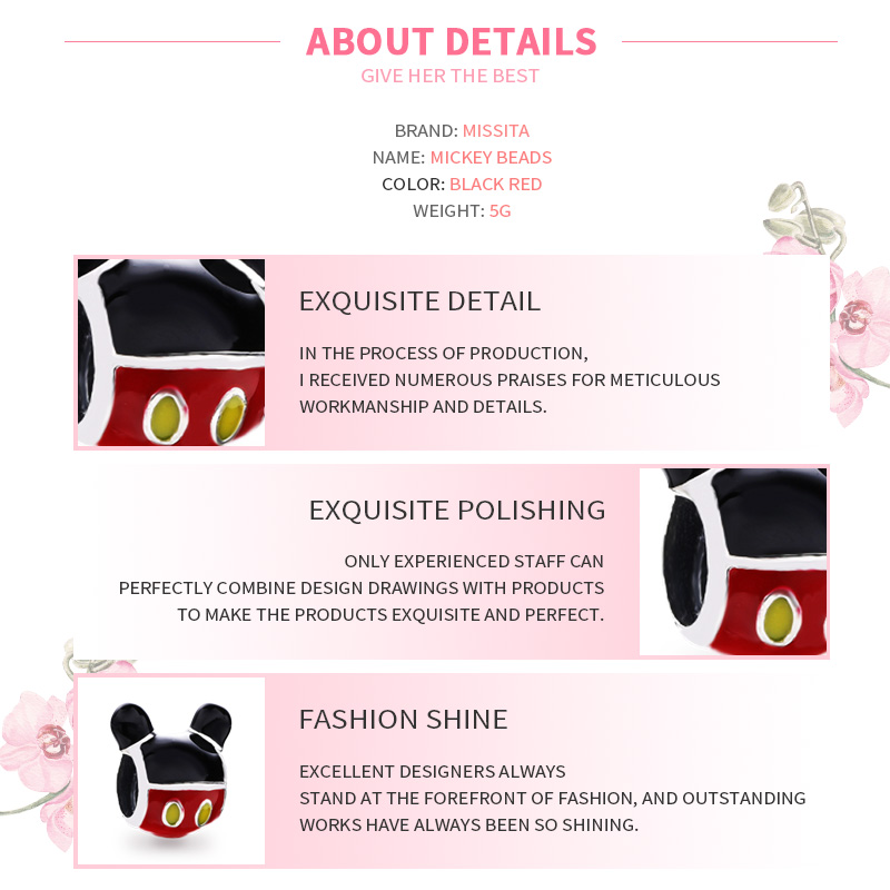 MISSITA Cute Mickey Charms fit Pandora Bracelets Necklaces for Jewelry Making Ladies Jewelry Accessories in Charms from Jewelry Accessories