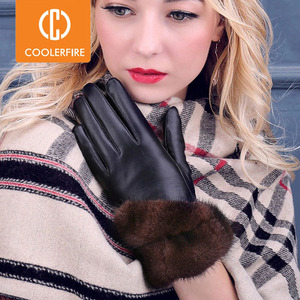 Image 1 - COOLERFIRNew Designer Wome Gloves High Quality Genuine Leather sheepskin Mittens Warm Winter Gloves for fashion Female ST013