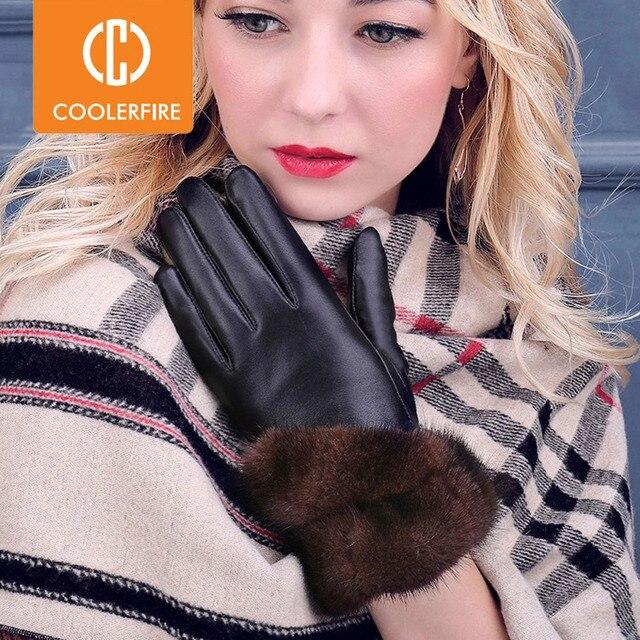 COOLERFIRNew Designer Wome Gloves High Quality Genuine Leather sheepskin Mittens Warm Winter Gloves for fashion Female ST013