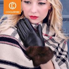 COOLERFIRNew Designer Womeถุงมือคุณภาพสูงของแท้หนังSheepskin Mittensถุงมือฤดูหนาวที่อบอุ่นสำหรับแฟชั่นหญิงST013