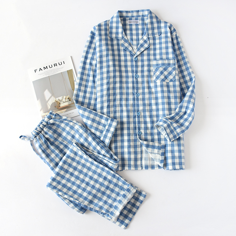 100% Cotton Pyjamas Men Pijamas Hombre Long-sleeve Causal Sleep Wear Lovers Men Homewear Pajamas Sets For Male 3XL