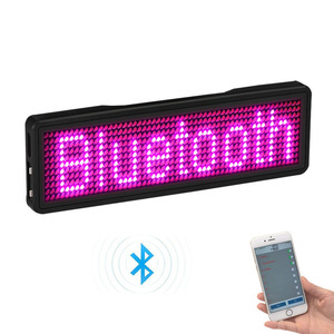 Bluetooth programable LED name badge 7 colors LED and 9 colors case with magnet and pin for event cafe bar restaurant expo show(China)