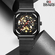 HAIQIN 2019 New Men's Mechanical Watches Automatic Watch Men Wristwatch Mens Skeleton Tourbillon Military Watch Men Montre Homme недорого