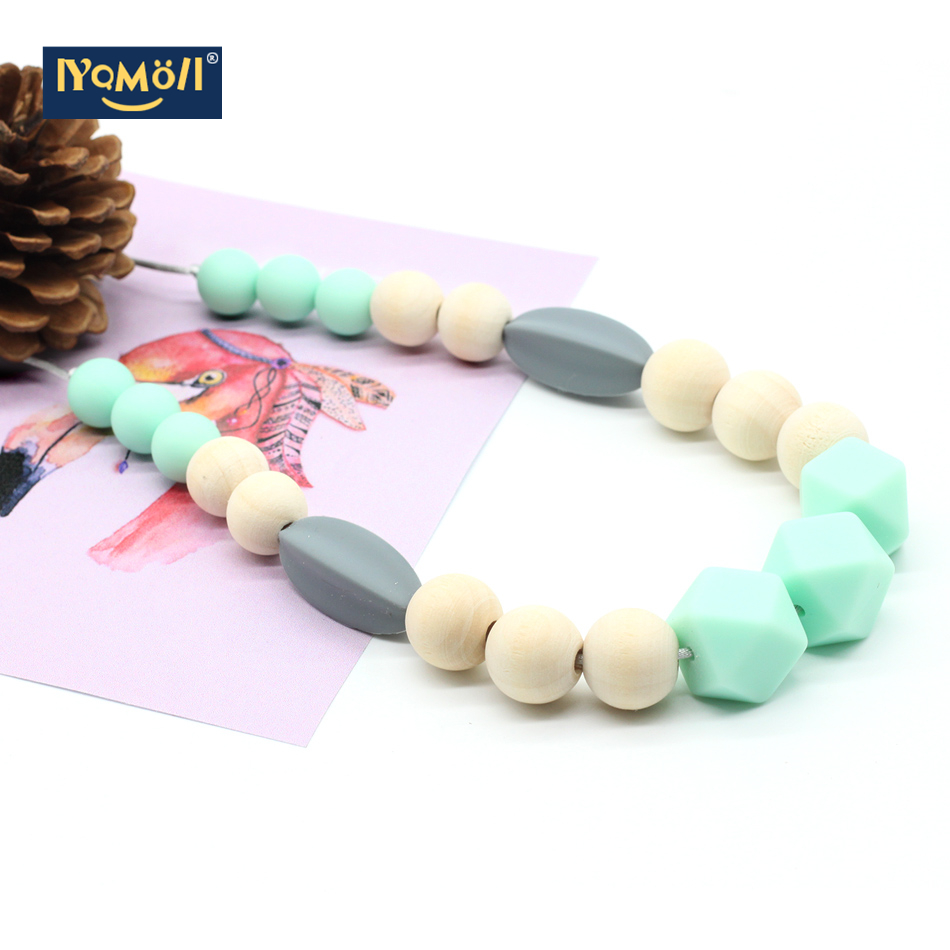 Silicone Teething Necklace Food Grade Soft Beads Necklace Baby Chewing Mommy DIY Necklace Baby Shower Toys Adjust The Length