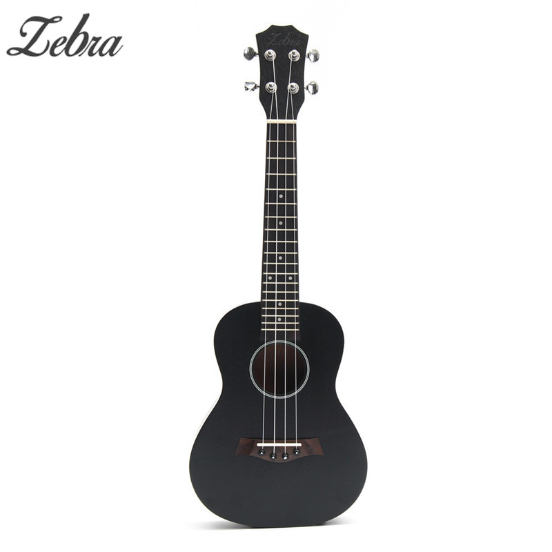 Zebra 23inch Black Ukulele Sapele Wood Concert Hawaii 4 Strings For Beginner Mini Guitar Rosewood Fretboard Stringed Instrument