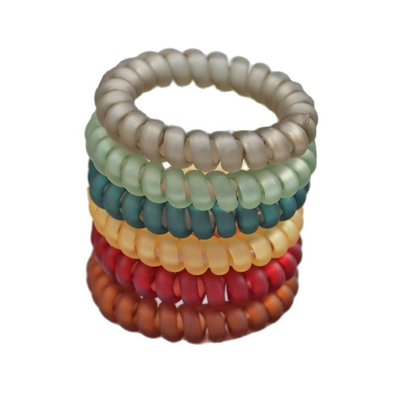 100Pcs/Lot Transparent Solid Telephone Wire Elastic Hair Band Frosted Spiral Cord Rubber Band Hair Tie Stretch Head Band Gum