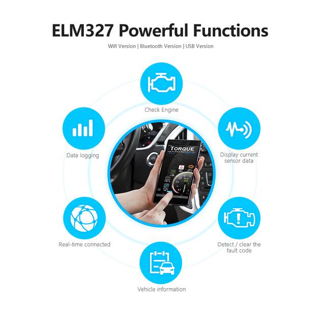 ELM327 Bluetooth V2.1 for Android Torque OBD 2 Interface OBD2 Scanner Super MINI ELM 327 Support OBDII Protocols code reader