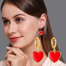 New Korean Heart Statement Drop Earrings 2020 for Women Fashion Vintage Geometric Red Cute Dangle Hanging Earring Jewelry voltage regulator 4000w ac 220v scr power regulator dimming dimmers motor speed controller thermostat electronic module