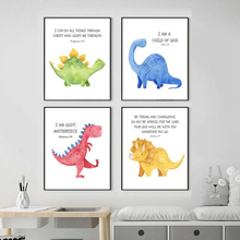 Cartoon Watercolor Dinosaur Wall Art Canvas Painting Cuadros Nursery Nordic Poster Animal Pictures For Living Room Unframed