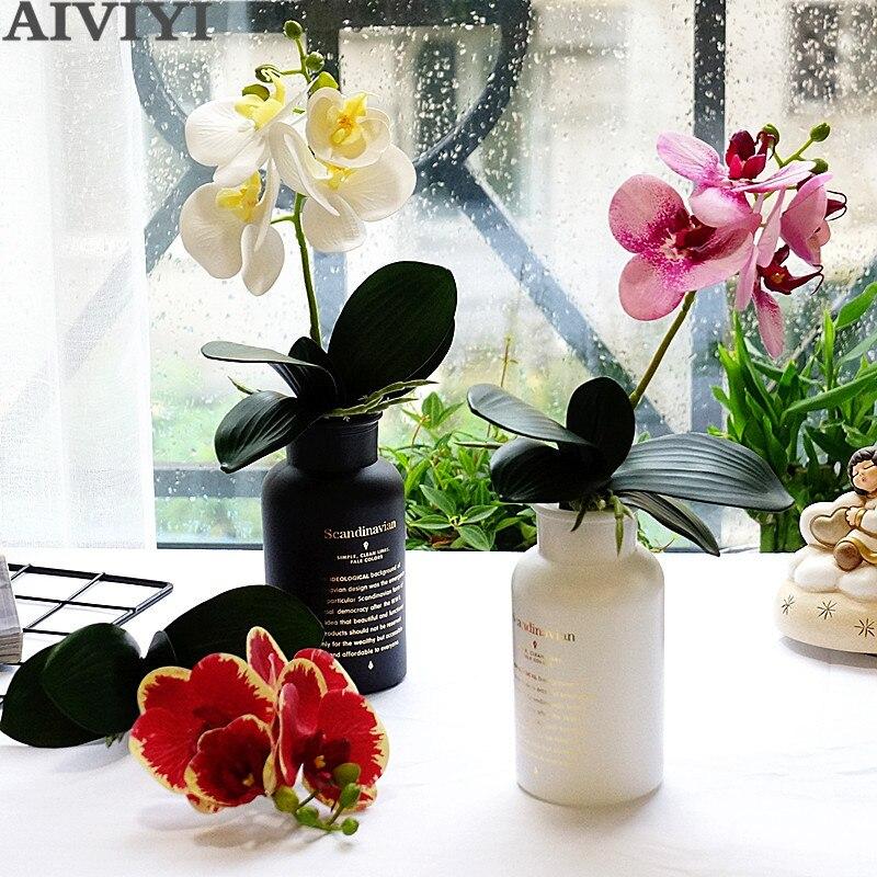 Новинка, маленькое дерево с листьями, 4 головки, искусственный фаленопсис, цветы, Орхидея, листья, высокое качество, искусственная кожа, скре...