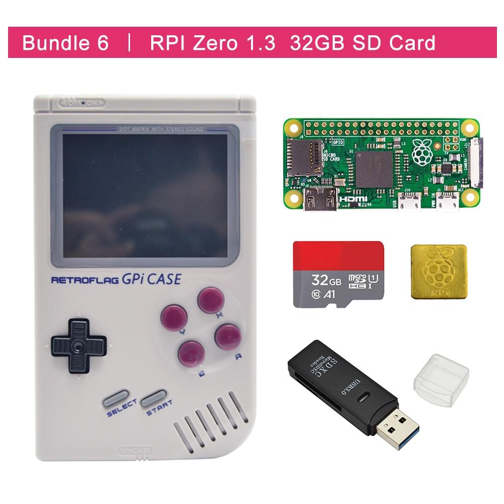 In Stock Original Retroflag GPi CASE Kit  With Raspberry Pi Zero 0/w+32GB SD Card+USB Card Reader +heatsink