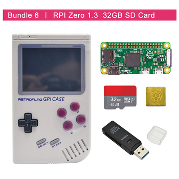In Stock Retroflag GPi CASE Kit  with Raspberry Pi Zero 0/w+32GB SD Card+USB Card Reader +heatsink raspberry pi zero wh built in wifi pre soldered headers type b micro sd card power adapter official case basic components