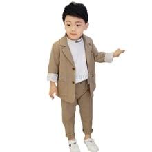 2020 Kids Wedding Jacket +Pants 2Pcs Stage Performance Suit Flower Boys Formal Tuxedos School Girls Host Dance Suit Clothing Set