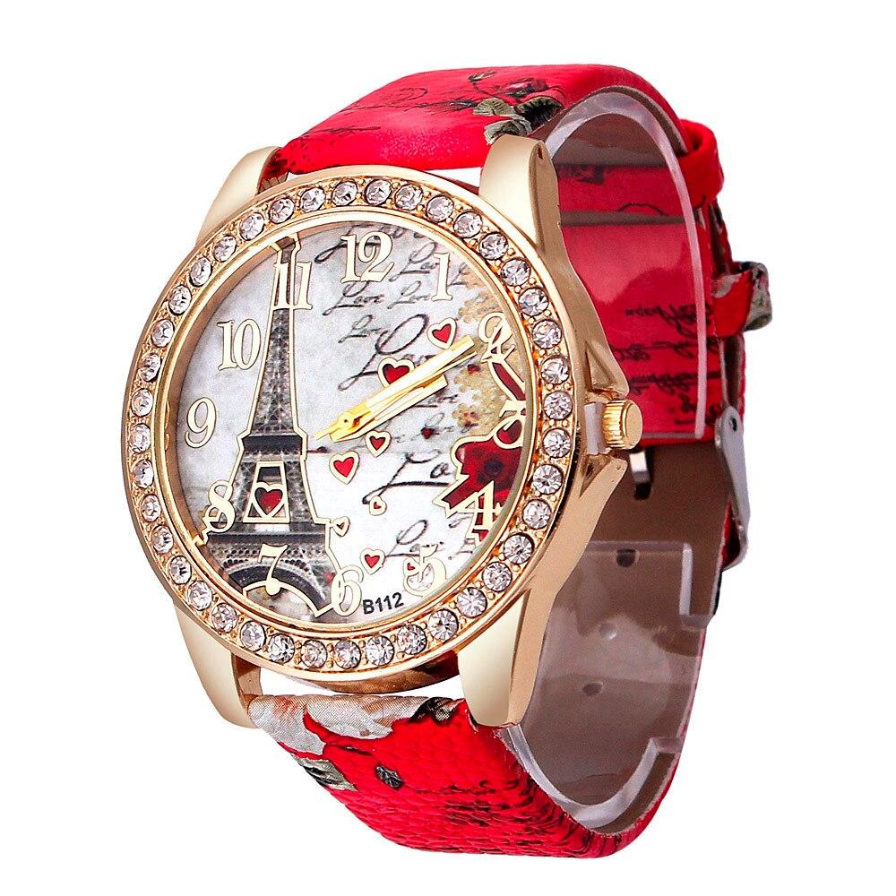 ז 'נבה נשים שעון מגדל דפוס ריינסטון רצועת עור אנלוגי קוורץ ווג יד שעונים זול שעוני יד לנשים YE1